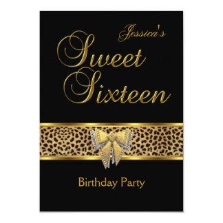 Sweet 16 Birthday Gold Black Leopard bow Card