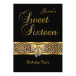 Sweet 16 Birthday Gold Black Leopard bow Invite