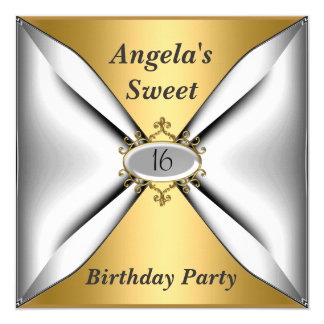 Sweet 16 birthday Invitation Gold