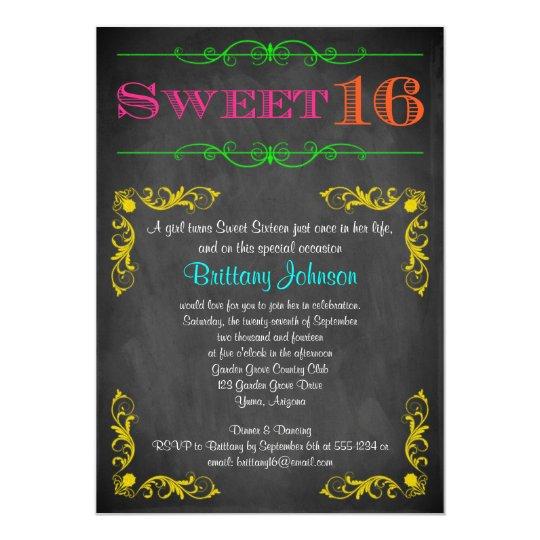 sweet 16 birthday invitation neon chalkboard zazzle