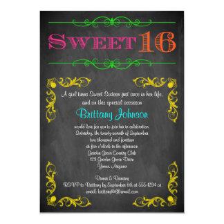 Sweet 16 Birthday Invitation | Neon Chalkboard