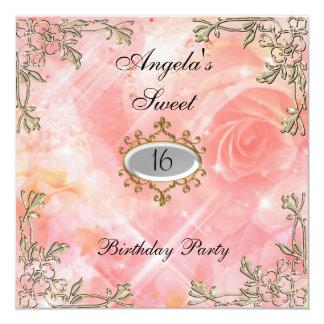 Sweet 16 birthday Invitation Pink Flowers