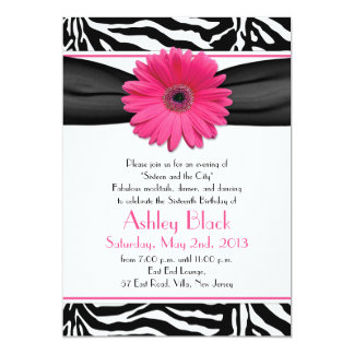 Sweet 16 Birthday Invite | Daisy Zebra Print