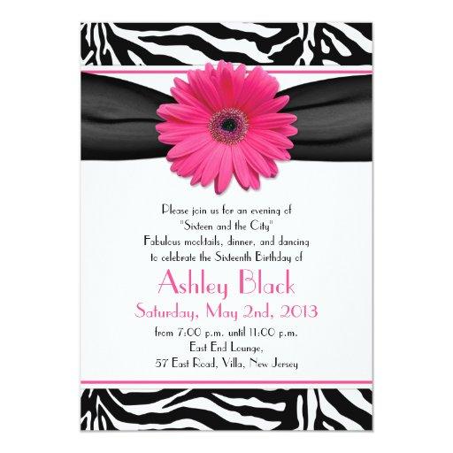 "Sweet 16 Birthday Invite | Daisy Zebra Print 5"" X 7"" Invitation Card"