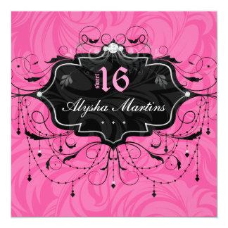 Sweet 16 Birthday Jewel Chandelier Frame PInk Card