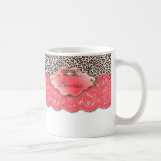 Sweet 16 Birthday Leopard Lace Crown Mug Coral