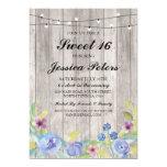 Sweet 16 Birthday Lights Rustic Wood Floral Invite