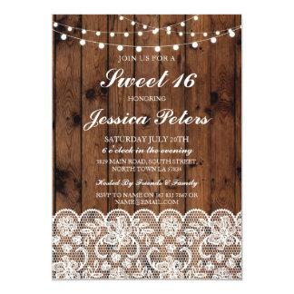 Sweet 16 Birthday Lights Rustic Wood Lace Invite