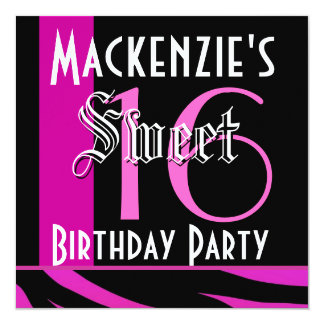 Sweet 16 Birthday Magenta and Black Tiger G804 Card
