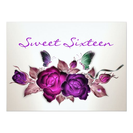 Sweet 16 Birthday Mauve Pink Roses Floral Art Card