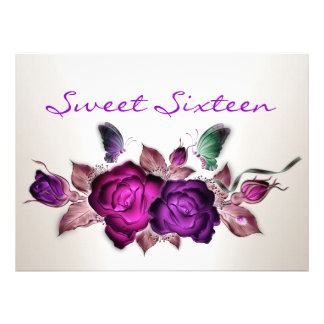Sweet 16 Birthday Mauve Pink Roses Floral Art Personalized Announcements