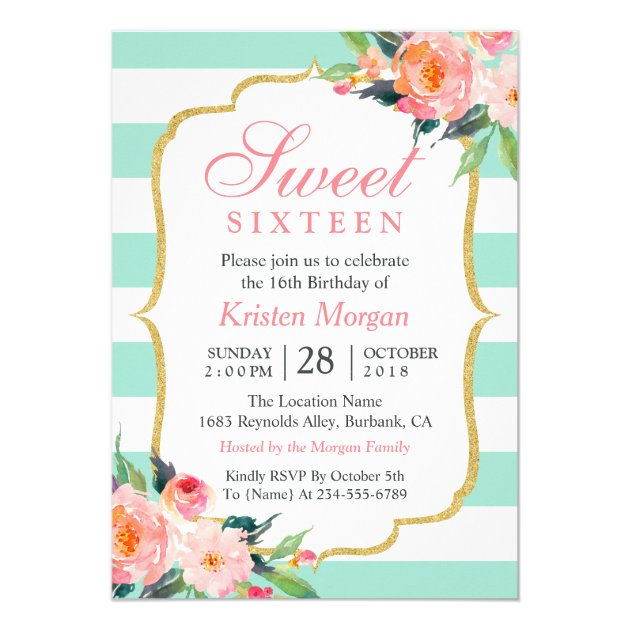 Sweet 16 Birthday   Mint Green Stripes Pink Floral Card