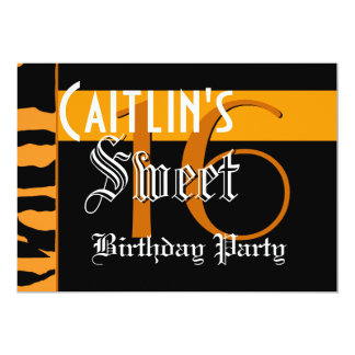 Sweet 16 Birthday Modern Gold and Black Tiger G802 Card