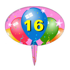 Sweet 16 Birthday Party Age Custom Oval Cake Pick