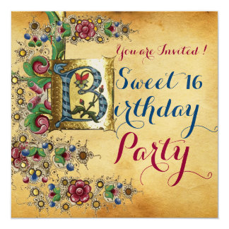 SWEET 16  BIRTHDAY PARTY ANTIQUE FLORAL PARCHMENT CARD