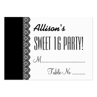 SWEET 16 BIRTHDAY PARTY Black Lace Table Cards V03 Large Business Cards (Pack Of 100)