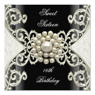 Sweet 16 Birthday Party Black White Cream Pearl Card