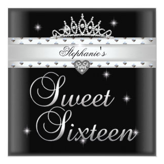 Sweet 16 Birthday Party Black White Tiara 5.25x5.25 Square Paper Invitation Card
