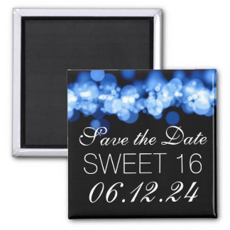 Sweet 16 Birthday Party Blue Bokeh Lights 2 Inch Square Magnet