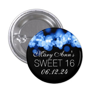 Sweet 16 Birthday Party Blue Bokeh Lights 1 Inch Round Button