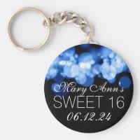 Sweet 16 Birthday Party Blue Bokeh Lights Keychain