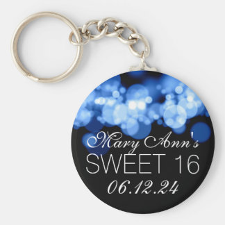 Sweet 16 Birthday Party Blue Bokeh Lights Basic Round Button Keychain