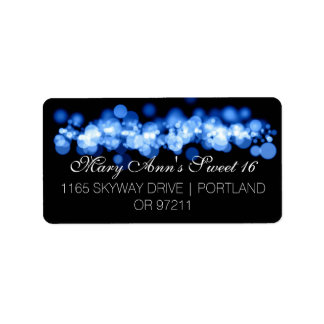 Sweet 16 Birthday Party Blue Bokeh Lights Label