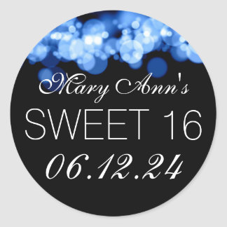 Sweet 16 Birthday Party Blue Bokeh Lights Round Stickers