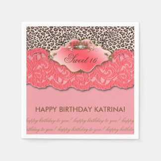 Sweet 16 Birthday Party Crown Leopard Coral Paper Napkin