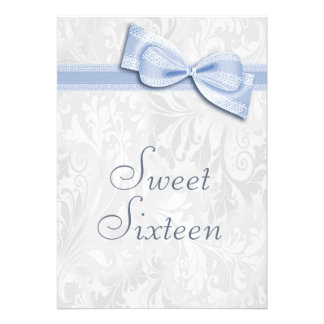 Sweet 16 Birthday Party Damask and Faux Bow Custom Invites