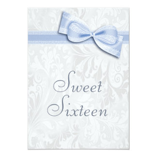 Sweet 16 Birthday Party Damask and Faux Bow 5x7 Paper Invitation Card