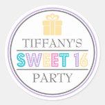 Sweet 16 Birthday Party Favor Sticker