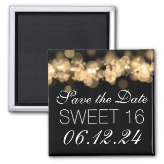 Sweet 16 Birthday Party Gold Bokeh Lights 2 Inch Square Magnet