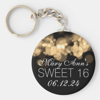 Sweet 16 Birthday Party Gold Bokeh Lights Basic Round Button Keychain