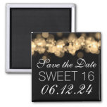 Sweet 16 Birthday Party Gold Bokeh Lights Fridge Magnets