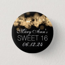 Sweet 16 Birthday Party Gold Bokeh Lights Pinback Button