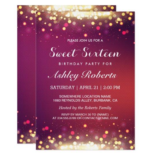 Sweet 16 Birthday Party Gold Shimmer Sparkles Invitation Zazzlecom