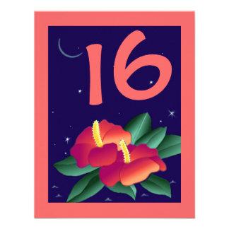 SWEET 16 BIRTHDAY PARTY INVITATION LUAU TROPICAL