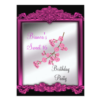 Sweet 16 Birthday party invitation pink