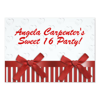 Sweet 16 Birthday Party invitation red and white