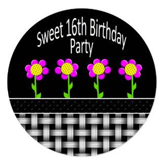 SWEET 16 BIRTHDAY PARTY INVITATION - ROUND -FLOWER