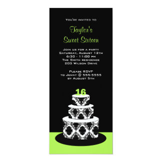 Sweet 16 Birthday Party Invitations in Lime Green