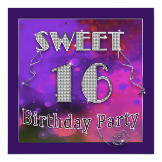 Sweet 16 Birthday Party Invitations - Mujlti Color Personalized Announcement