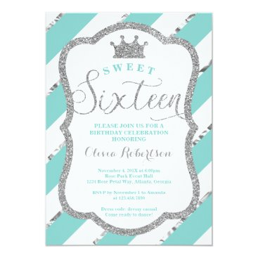 Sweet 16 Birthday Party Invite, Faux Glitter Card