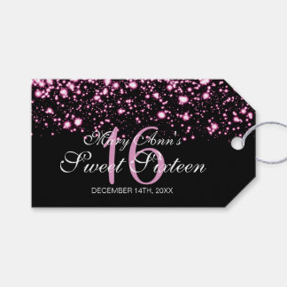 Sweet 16 Birthday Party Midnight Glam Pink Gift Tags