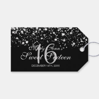 Sweet 16 Birthday Party Midnight Glam Silver Gift Tags