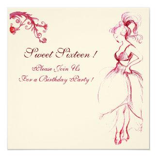 SWEET 16 BIRTHDAY PARTY MONOGRAM Red Pink Swirls Card