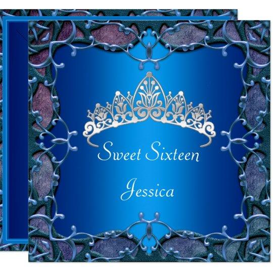 Sweet 16 Birthday Party Navy Blue Silver Tiara Card
