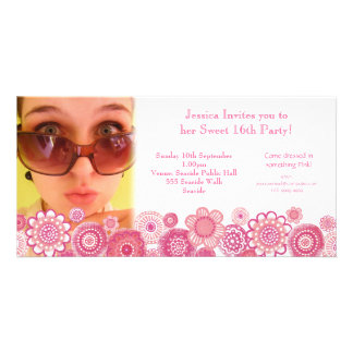 Sweet 16 Birthday Party Photo Card Template