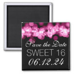 Sweet 16 Birthday Party Pink Bokeh Lights 2 Inch Square Magnet